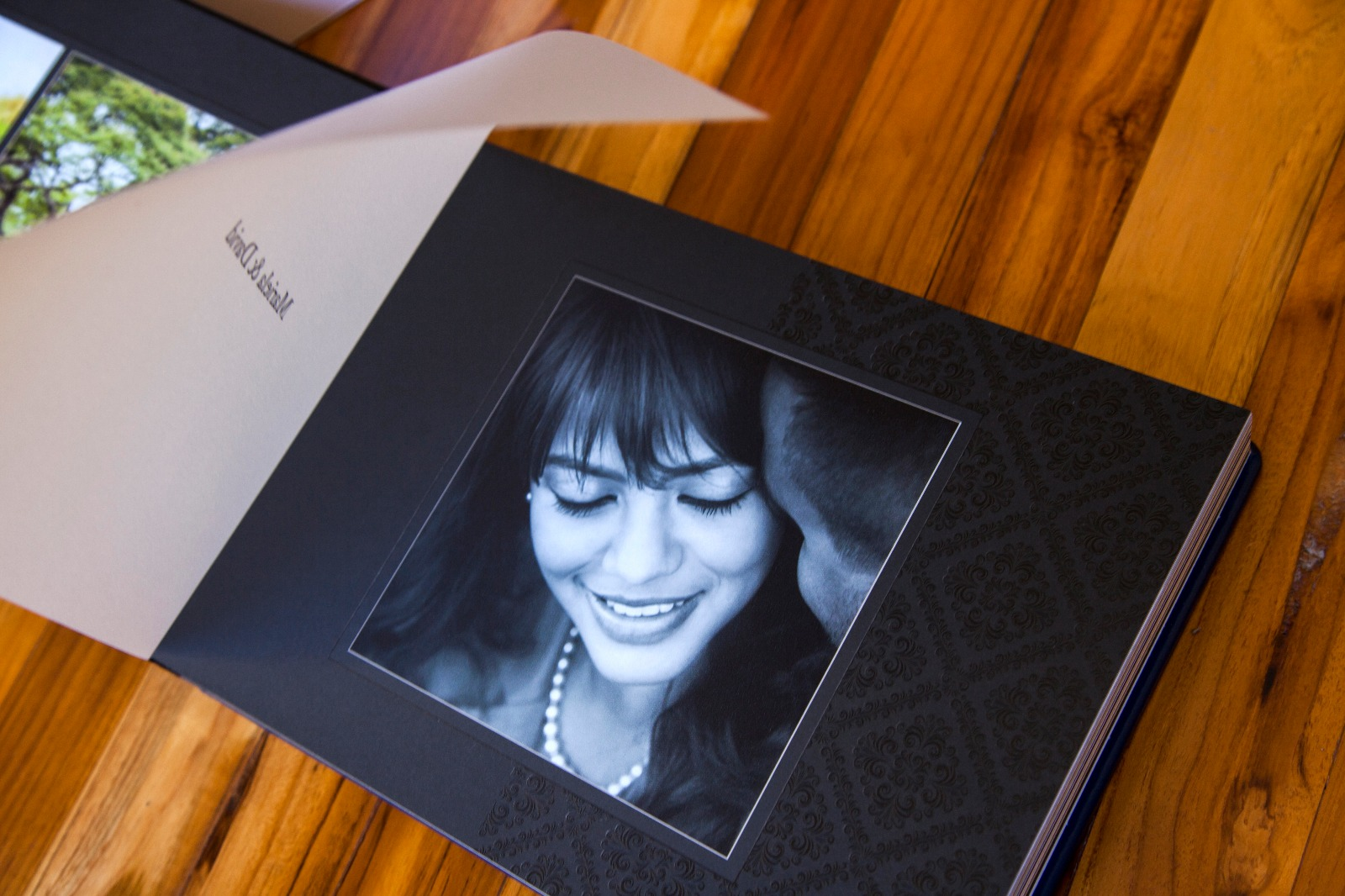 portrait of woman on photo album