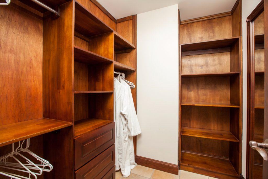 wooden walk-in closet