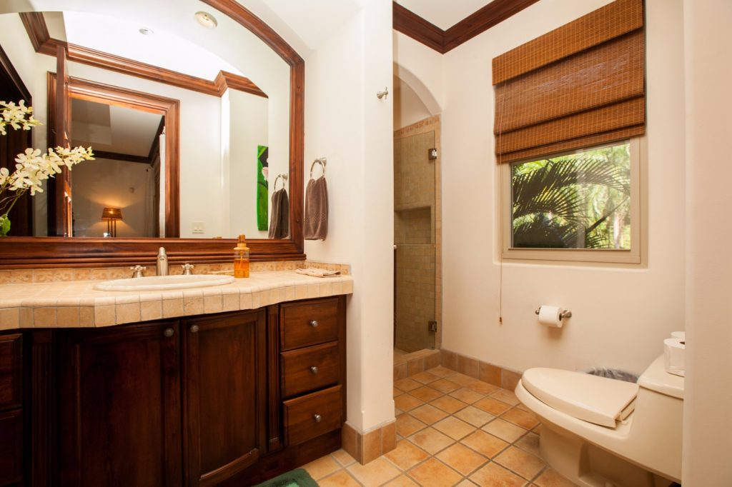 toilet with mirror and window