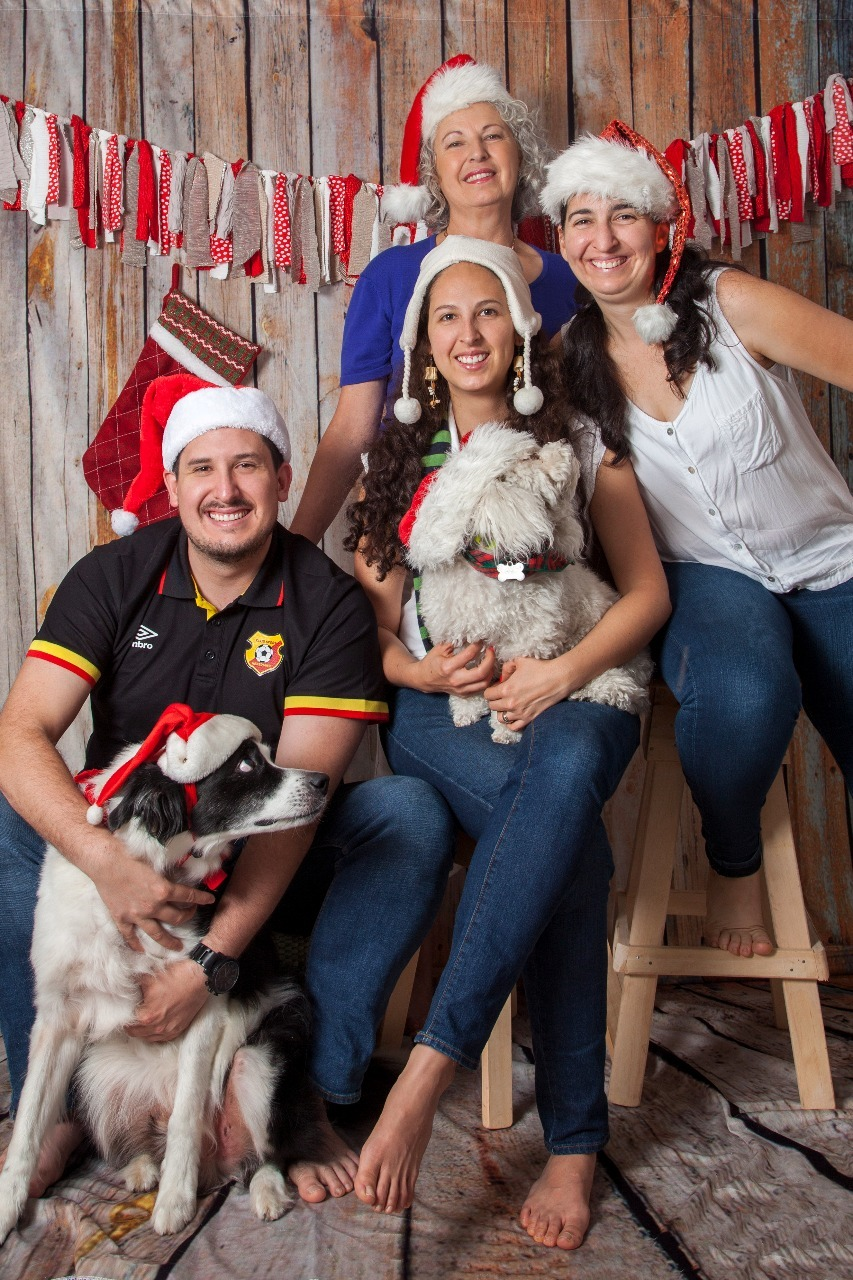 christmas card with dog in christmas hat