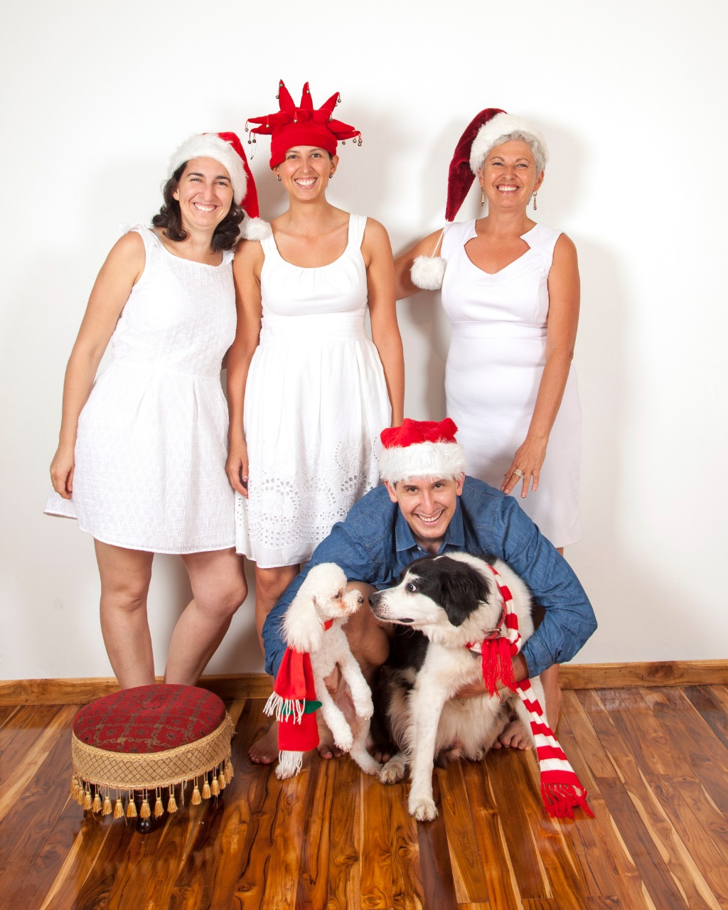 Christmas family with dog