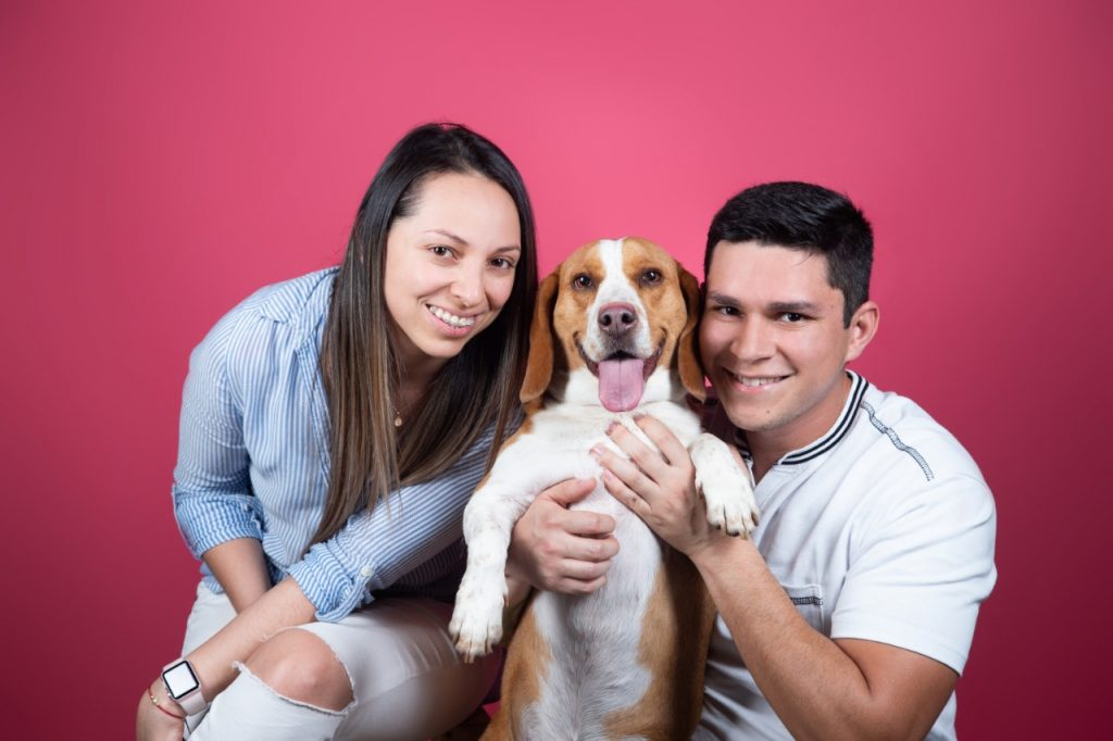 couple with smiley dog