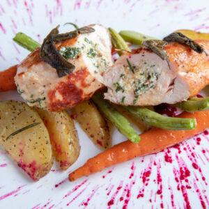Foto de comida, pollo relleno con verduras, Karla Cordero Photography